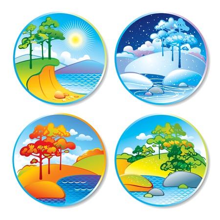 고요한 장면: 봄, 여름, 가을, 원의 겨울 풍경. 벡터 일러스트 레이 션.