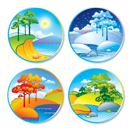 Spring, summer, autumn and winter landscape in a circle. Vector illustration. Çizim
