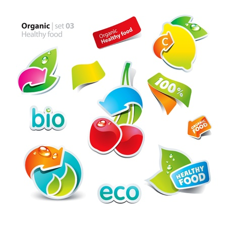 fresh food: Set of stickers and icons of healthy and organic food. Vector illustration.