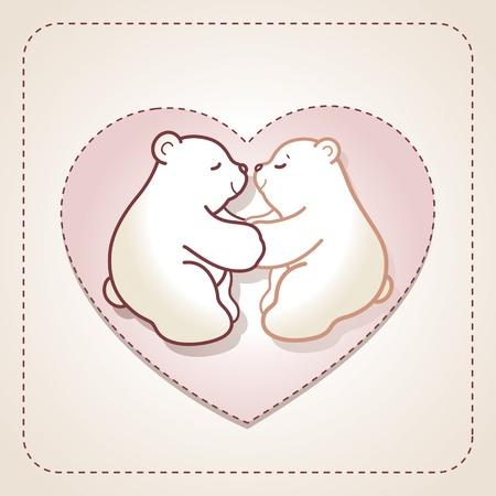 osos de peluche: Tarjeta de San Valentín con un par de abrazos lleva en el corazón en el fondo beige.