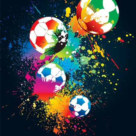 The colorful footballs on a black background. Vector illustration.