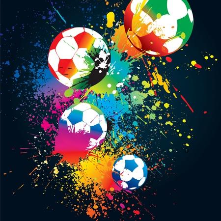 joyfulness: The colorful footballs on a black background. Vector illustration.
