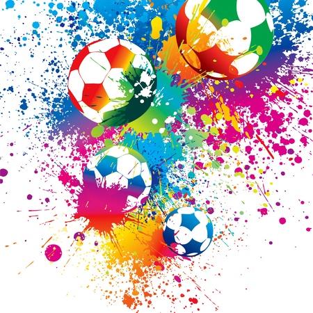 football silhouette: I palloni colorati su sfondo bianco. Illustrazione vettoriale. Vettoriali