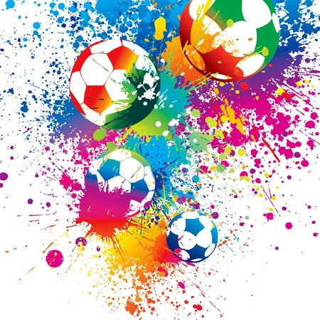 goal kick: The colorful footballs on a white background. Vector illustration. Illustration