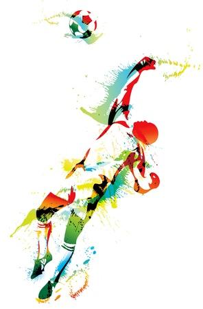 portero: El portero de fútbol atrapa el balón. Ilustración vectorial.