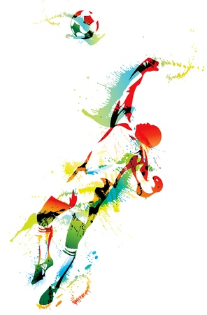 soccer kick: The football goalkeeper catches the ball. Vector illustration. Illustration