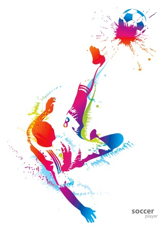 youth football: Soccer player kicks the ball. Vector illustration.