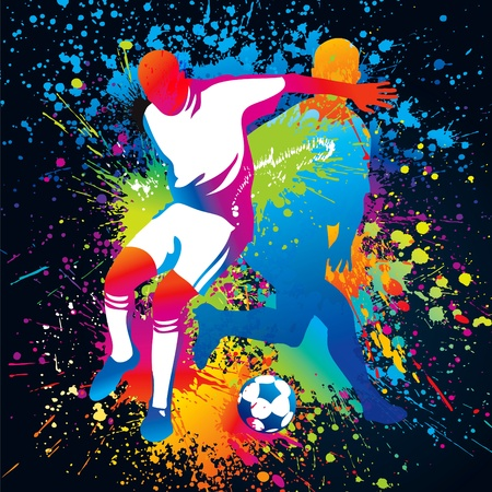 Football players with a soccer ball. Vector illustration. Çizim