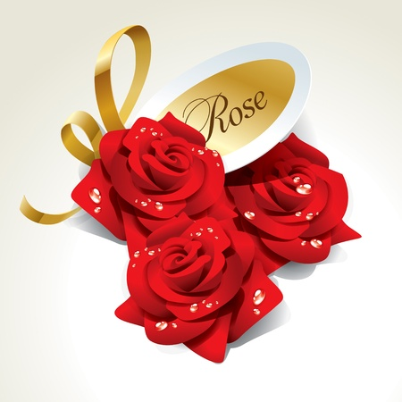 womanly: Three red roses in dewdrops with golden ribbon and paper sticker. Vector illustration. Illustration