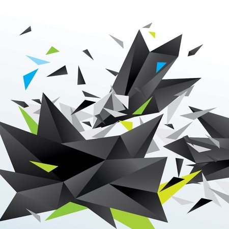 splinters: Modern abstract figure of black triangles surrounded flying splinters on a white background