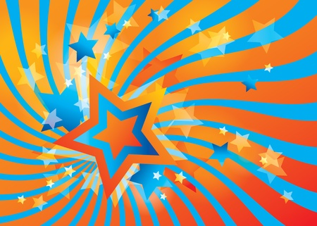 star burst christmas: Abstract background with stars and orange waves