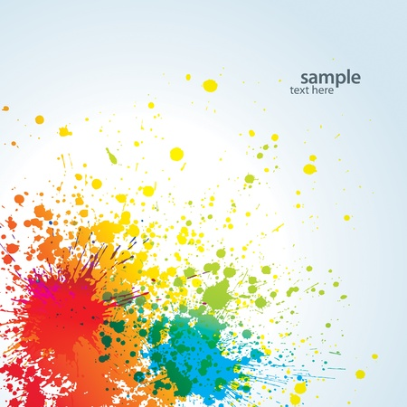 joyfulness: Background with colorful spots and sprays on a white. Vector illustration.