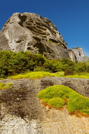 Beautiful landscape with a mountain cliff. Mountains of Meteora, Greece. photo