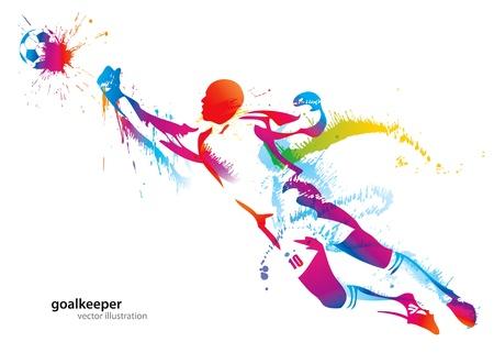arquero de futbol: El portero de fútbol atrapa el balón. Ilustración vectorial.