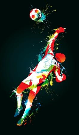 arquero de futbol: El portero de fútbol atrapa un balón sobre fondo negro. Ilustración vectorial. Vectores