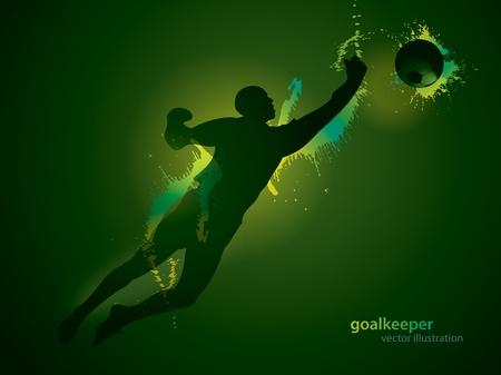 El portero de fútbol atrapa un balón sobre el fondo oscuro. Ilustración vectorial.