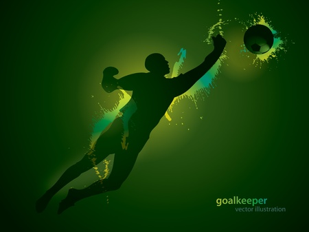 The football goalkeeper catches a ball on the dark background. Vector illustration. Vector