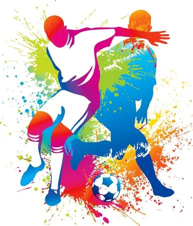 voetbal silhouet: Voetballers met een voetbal. Vector illustratie. Stock Illustratie