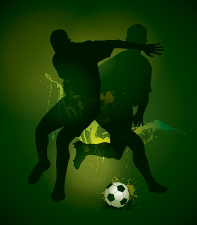 football boots: Football players with a soccer ball. Vector illustration. Illustration