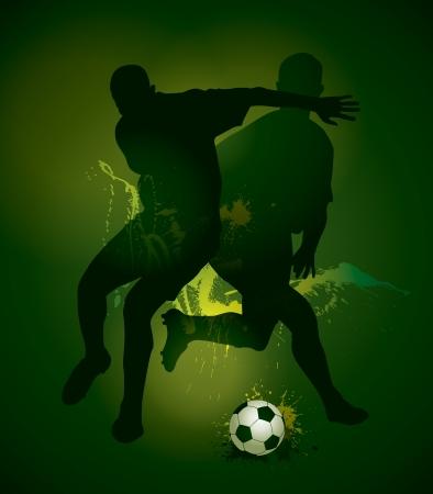 jugadores de soccer: Jugadores de f�tbol con un bal�n de f�tbol. Ilustraci�n vectorial. Vectores