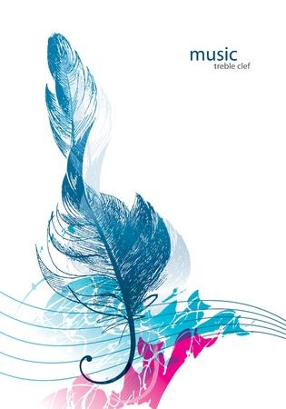 Violinschlüssel in Form von der Vogelfeder. Vektorgrafik