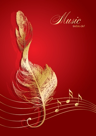 clef: Golden treble clef in the form of the birds feather on the red background. Illustration