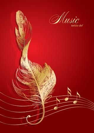 Goldene Violinschlüssel in der Form der Vogelfeder auf dem roten Hintergrund.