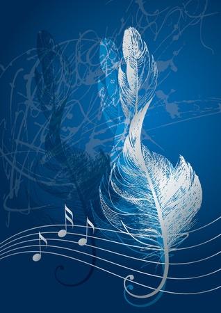 青い背景に鳥の羽の形で銀高音部記号。