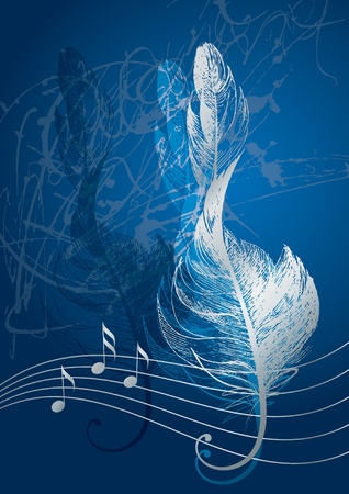 clef: Silver treble clef in the form of the birds feather on the blue background. Illustration