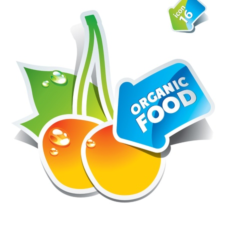 price drop: Icon cherries with the arrow by organic food. Vector illustration.