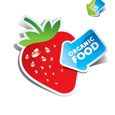 Icon strawberry with the arrow by organic food. Vector illustration. Çizim
