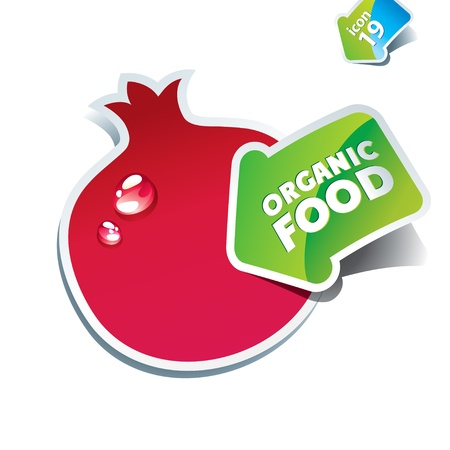 pomegranate: Icon pomegranate with the arrow by organic food. Vector illustration. Illustration