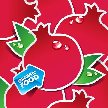 Background from pomegranates with an arrow by organic food. Vector illustration. Vector