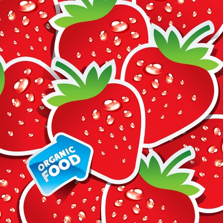 Background from strawberries with an arrow by organic food. Vector illustration. Vector