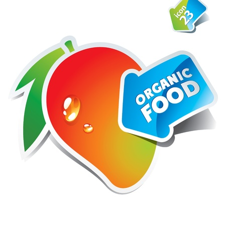 mangoes: Icon mango with arrow by organic food. Vector illustration.