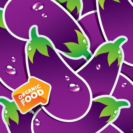 organic food: Background from eggplants with an arrow by organic food. Vector illustration. Illustration
