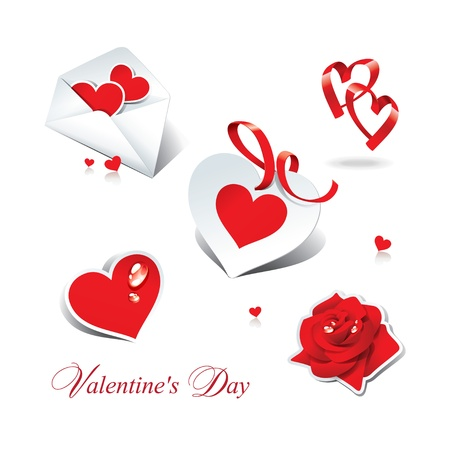 declaration of love: Set of romantic icons and stickers for themes like love, Valentines day, holidays. Vector illustration.