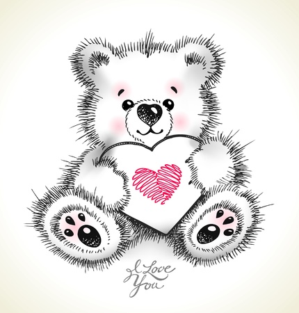 Hand drawn furry teddy bear with a heart in paws. Vector illustration. Çizim