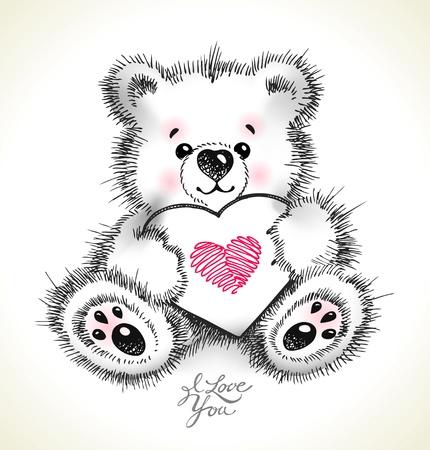 Mano dibujada peludo osito de peluche con un corazón en sus patas. Ilustración vectorial.