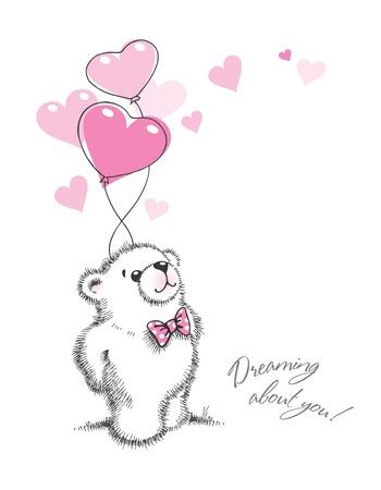 Oso de peluche mantiene los globos en forma de corazones sobre un fondo blanco. Ilustración dibujado a mano, vector.