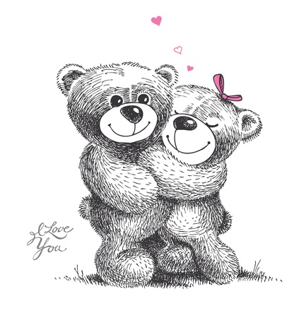 teddy bear love: Couple of hugging teddy bears with small hearts. Hand drawn illustration, vector. Illustration