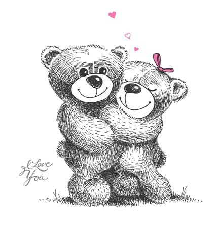 Par de abrazos de osos de peluche con pequeños corazones. Dibujado a mano ilustración, vector.