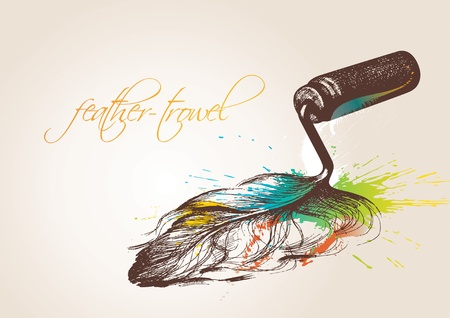 Trowel for makeup. The trowel in the form of the birds feather on the beige background. Vector illustration. Vector