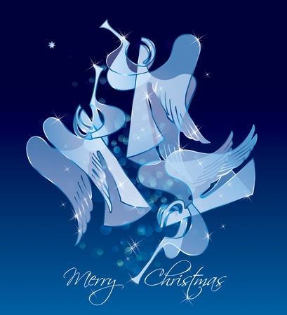 Christmas Angels on a blue background. Classical figures from a paper. Vector illustration. Çizim