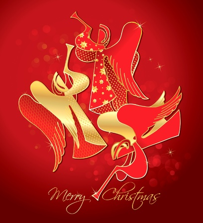 Christmas red and gold figured Angels on a red background. Vector illustration. Vector