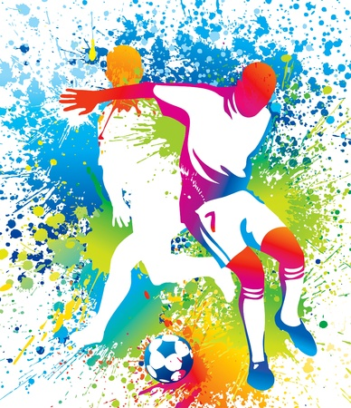 Football players with a soccer ball. Vector illustration. 向量圖像