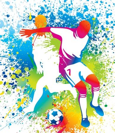 Piłkarze z piłkę. Ilustracji wektorowych.