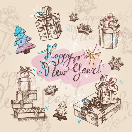 Set of Christmas gifts. Vector illustration. Stock Vector - 10647776
