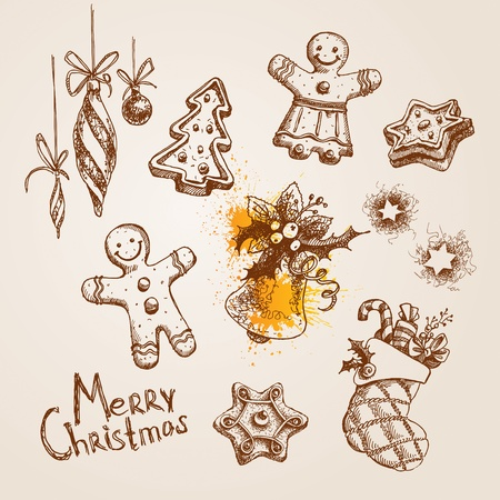 christmas cookie: Set of Christmas icons. Vector illustration.
