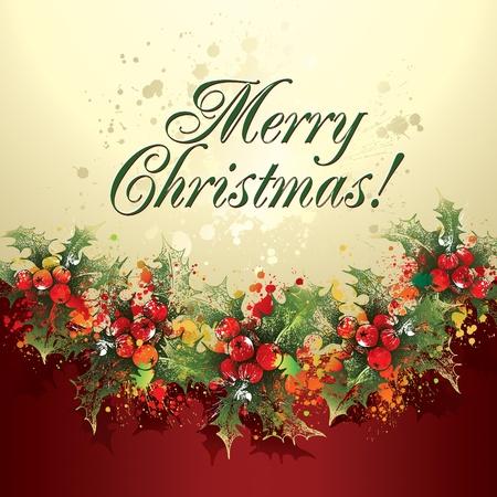 slingers: Kerst hulst krans met druppels en sprays op een beige en bordeauxrode achtergrond. Vector illustratie.